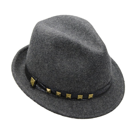Mechaly Women's Heather Grey Studded Fedora Hat