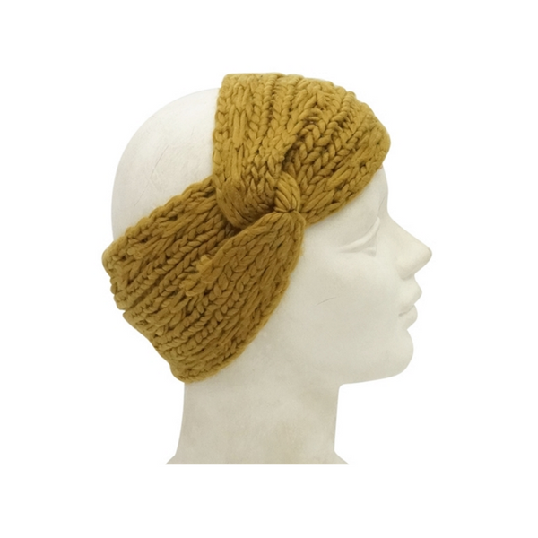 Mechaly Women's Knit Boho Mustard Vegan Headwrap