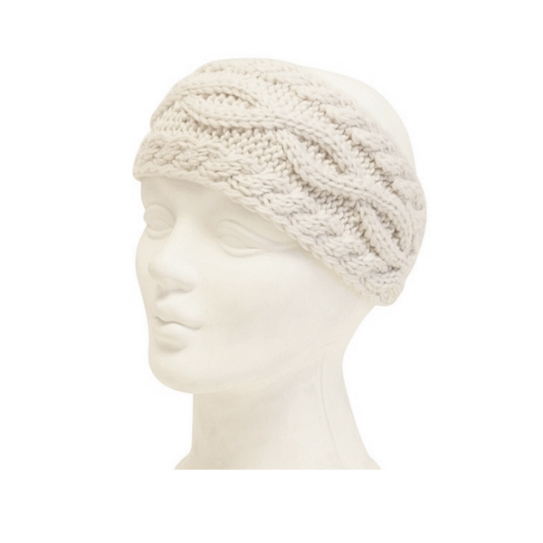 Mechaly Women's Cable Knit Winter Ivory Vegan Headband