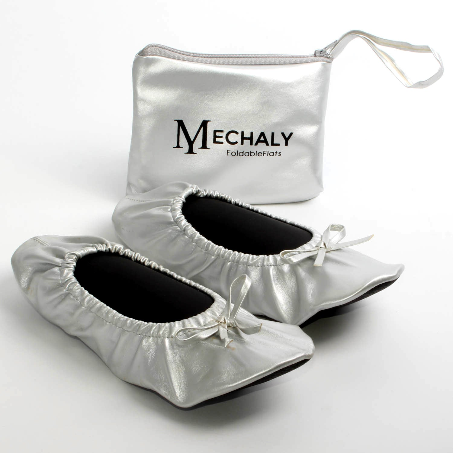 Mechaly Women's Silver Vegan Leather Foldable...