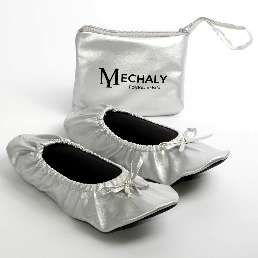 Mechaly Women's Vegan Leather Foldable Flats Silver