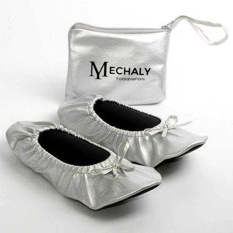 Mechaly Women's Silver Vegan Leather Foldable Flats
