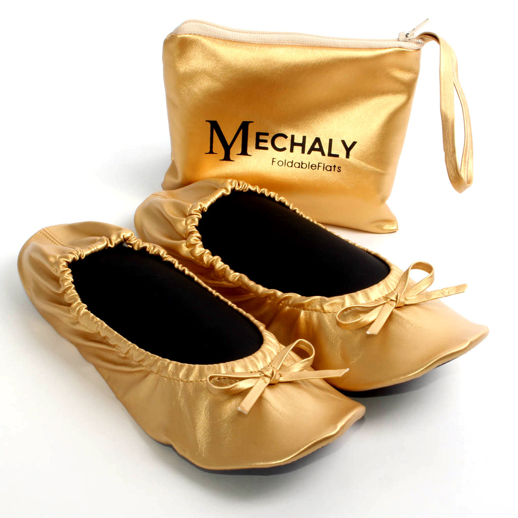 Mechaly Women's Vegan Leather Foldable Flats Gold