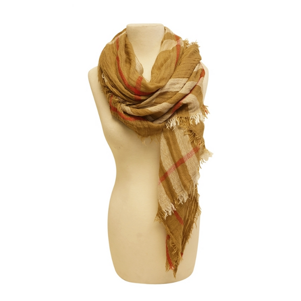 Mechaly Women's Plaid Beige Vegan Scarf