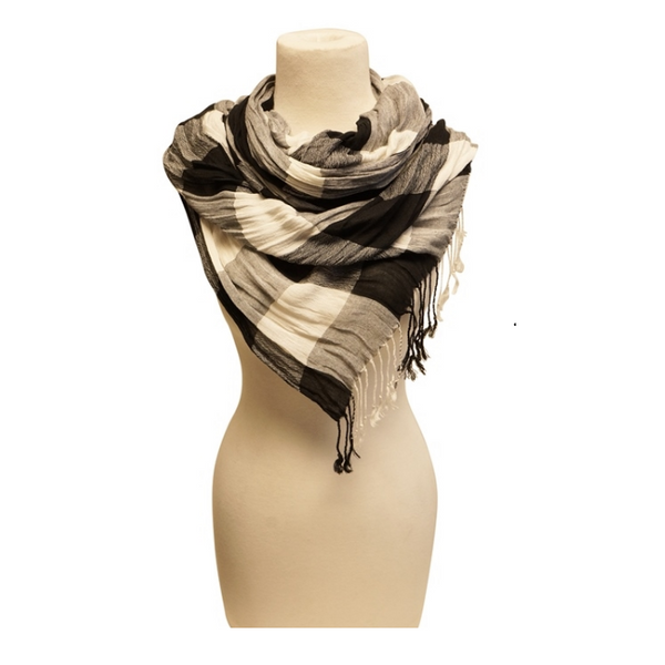 Mechaly Women's Super Soft Black & White Vegan Scarf