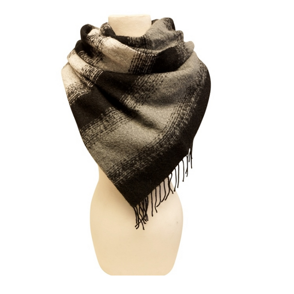 Mechaly Women's Cozy Knit Black & Grey Vegan Scarf