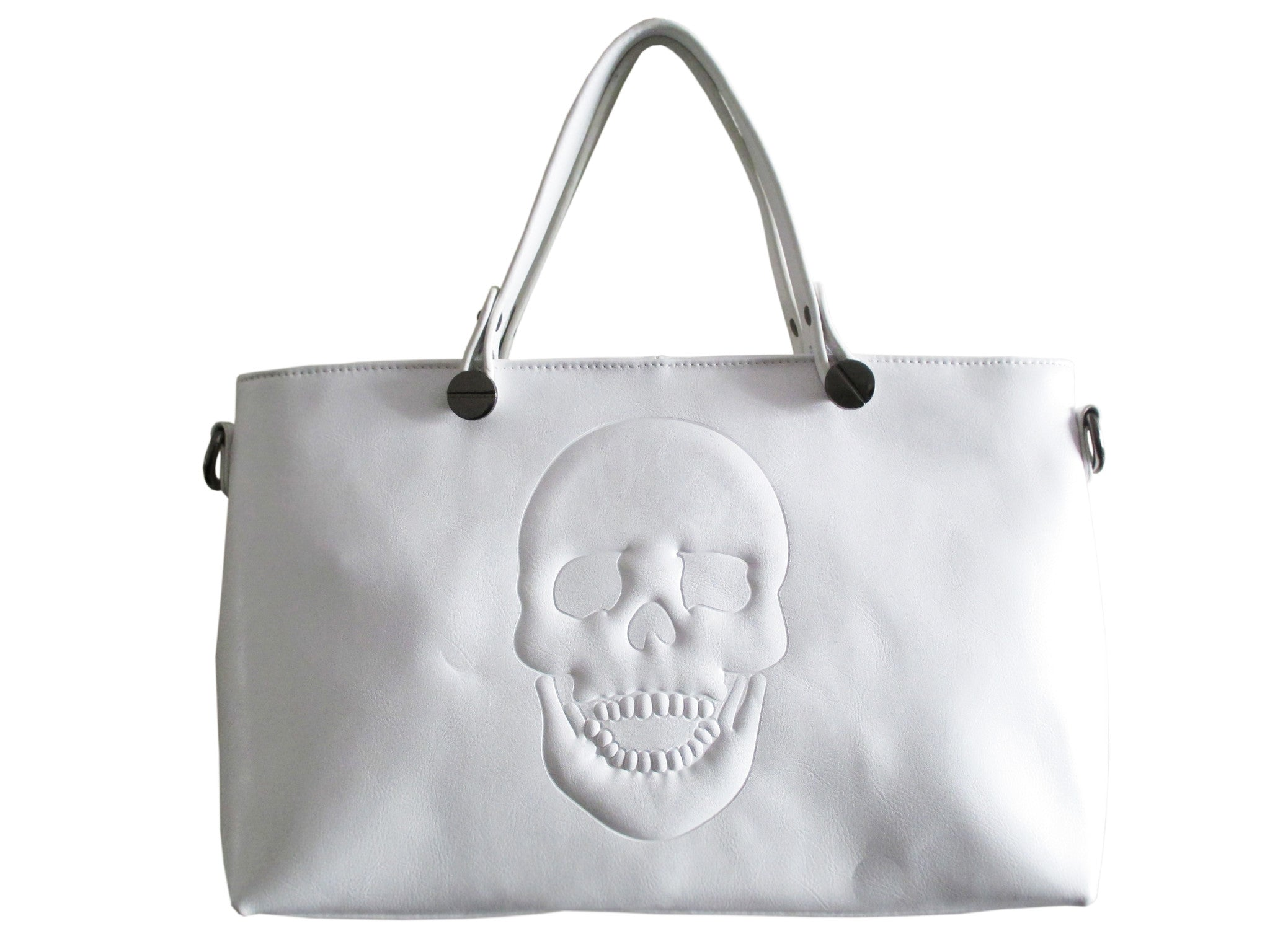 Mechaly Women's Skully White Vegan Leather Skull Handbag