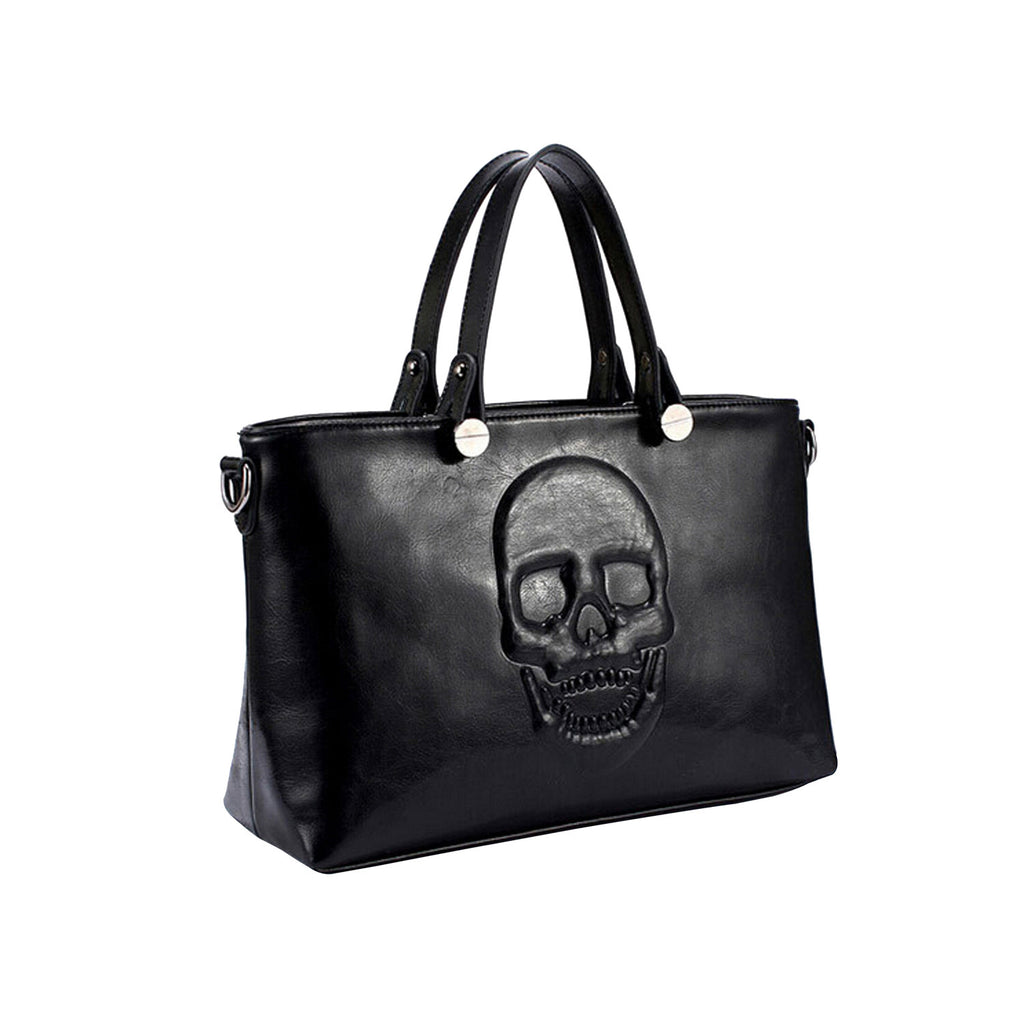 Skully Black Vegan Leather Skull Handbag