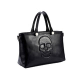 Mechaly Women's Skully Black Vegan Leather Skull Handbag