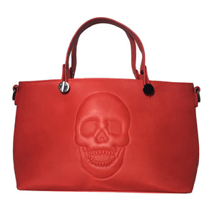 Mechaly Women's Skully Red Vegan Leather Skull Handbag