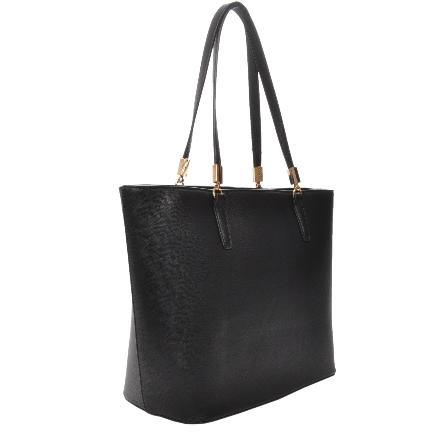 Mechaly Women's Sydney Black Vegan Leather Tote Handbag