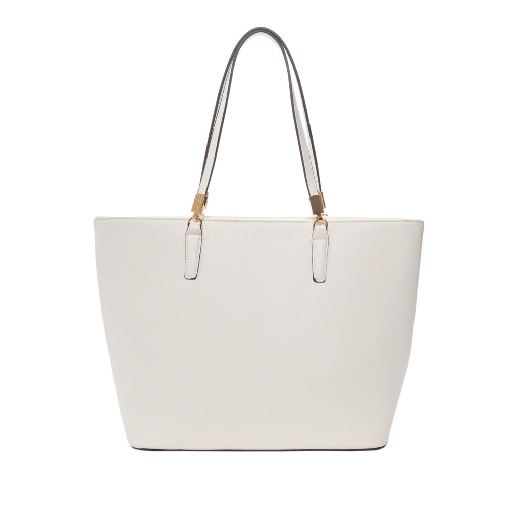 Sydney White Vegan Leather Tote Handbag