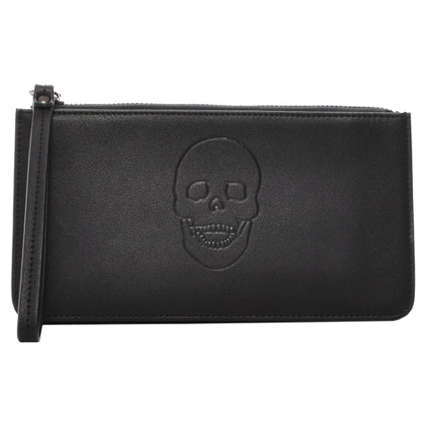 Mechaly Women's Skully Black Vegan Leather Skull Handle Wallet