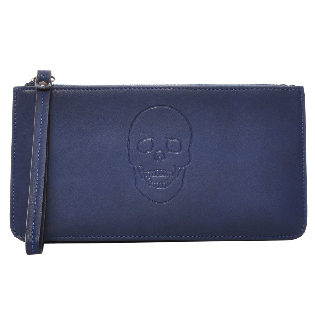 Mechaly Women's Skully Blue Vegan Leather Skull Handle Wallet