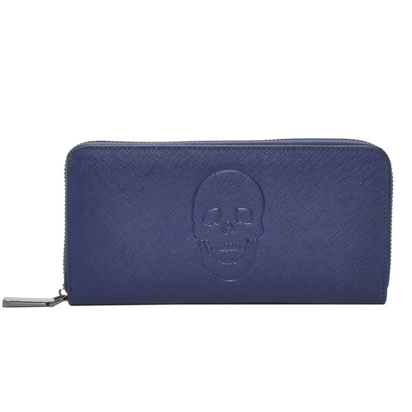 Mechaly Women's Skully Blue Vegan Leather Skull Wallet
