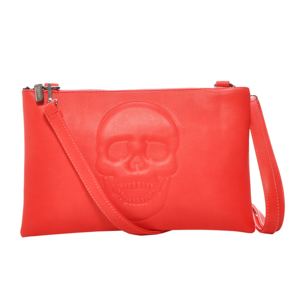 Mechaly Women's Skully Red Vegan Leather Skull Clutch Crossbody Handbag
