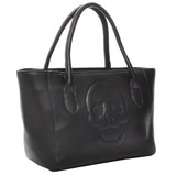 Mechaly Women's Skully Black Vegan Leather Skull Tote Handbag