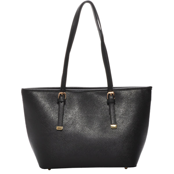 Mechaly Women's Sandy Black Vegan Leather Mini Tote Handbag