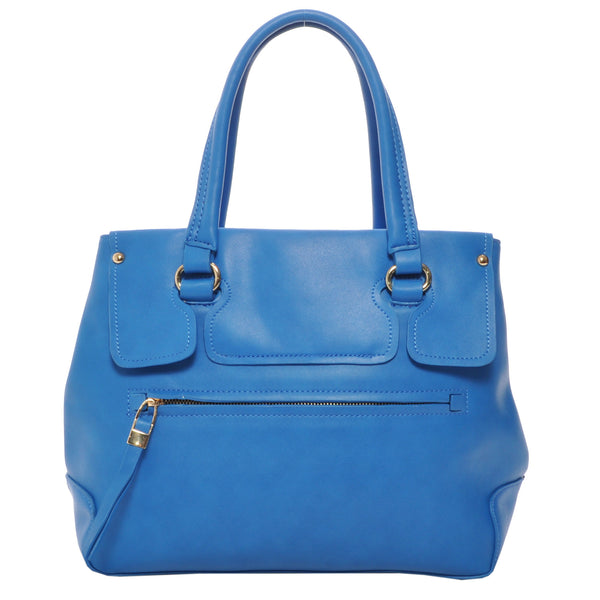 Mechaly Women's Emily Blue Vegan Leather Satchel Handbag