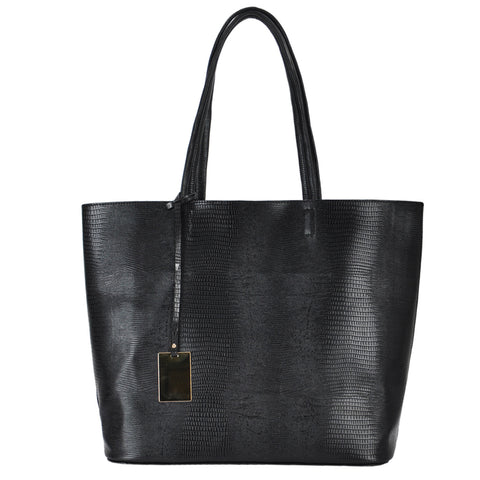 Mechaly Women's Emmy Black Vegan Leather Tote Handbag