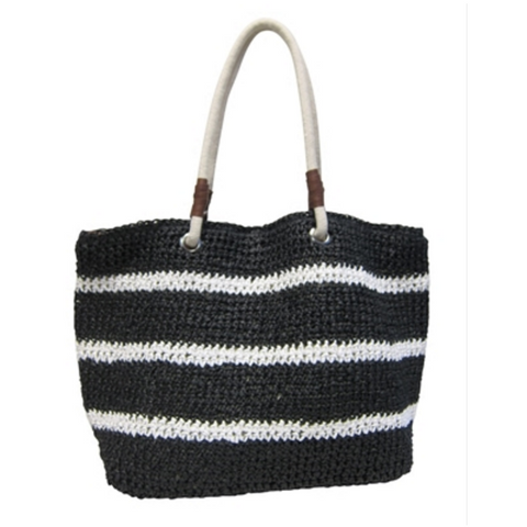 Women's Black w/Stripes Vegan Leather Beach Bag
