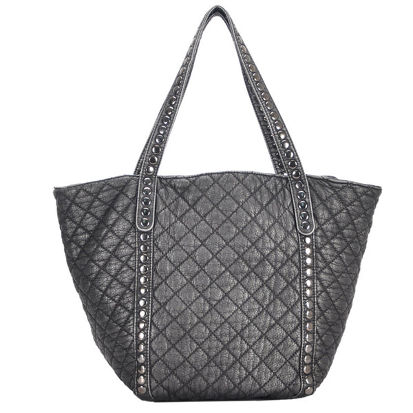 Mechaly Women's Ivy Pewter Vegan Leather Tote Handbag