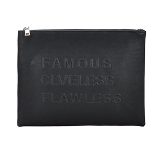Mechaly Women's Slogan Famous Black Vegan Leather Crossbody