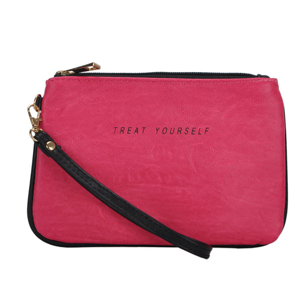 Mechaly Women's Slogan Treat Fuchsia Vegan Leather Wallet