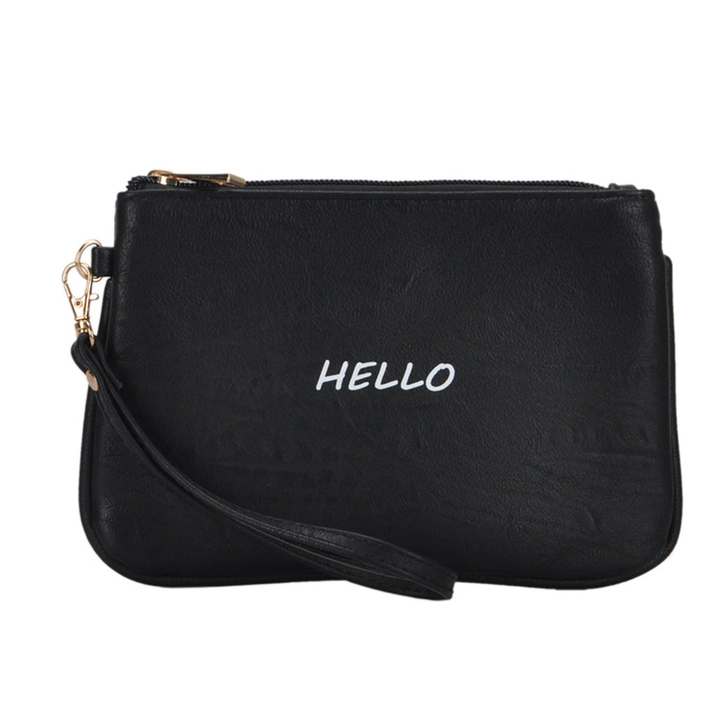 Mechaly Women's Slogan Bye Black Vegan Leather Wallet