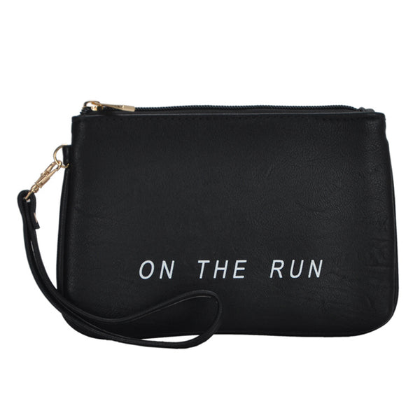Mechaly Women's Slogan Run Black Vegan Leather Wallet