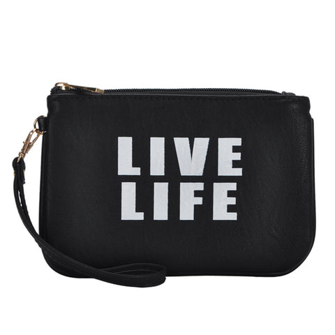 Mechaly Women's Slogan Life Black Vegan Leather Wallet