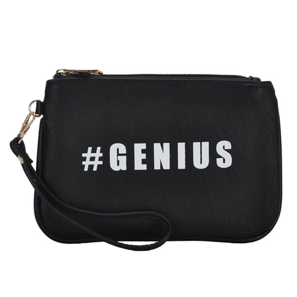 Mechaly Women's Slogan Genius Black Vegan Leather Wallet