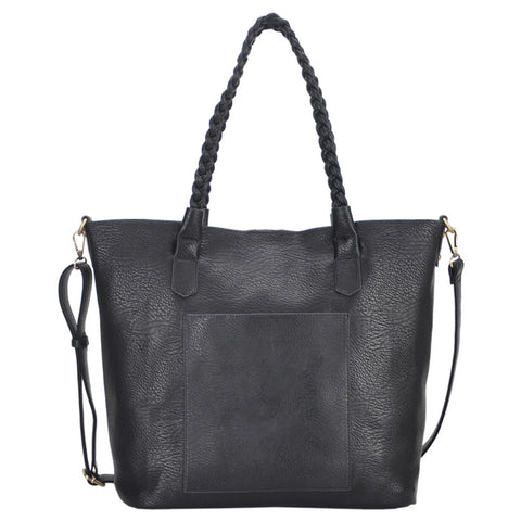Mechaly Women's Evie Black Vegan Leather Tote Handbag