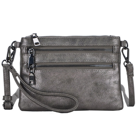 Mechaly Women's Tilly Pewter Vegan Leather Clutch Handbag