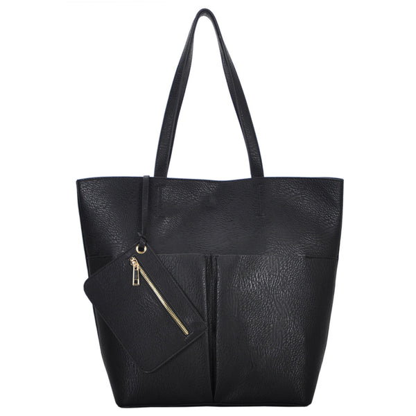 Mechaly Women's Lexi Black Vegan Leather Tote Handbag