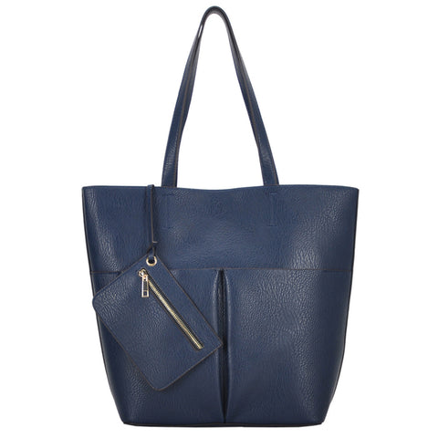 Mechaly Women's Lexi Blue Vegan Leather Tote Handbag