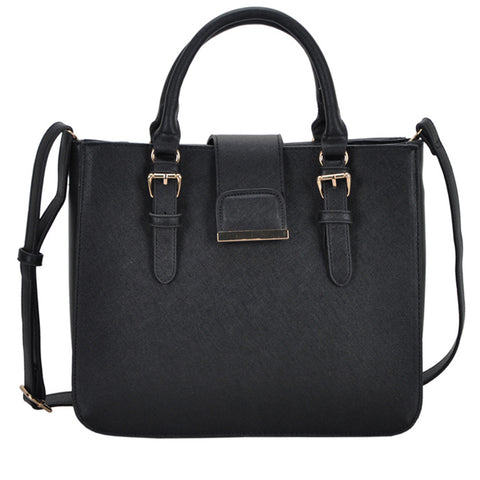 Mechaly Women's Rosie Black Vegan Leather Shoulder Handbag