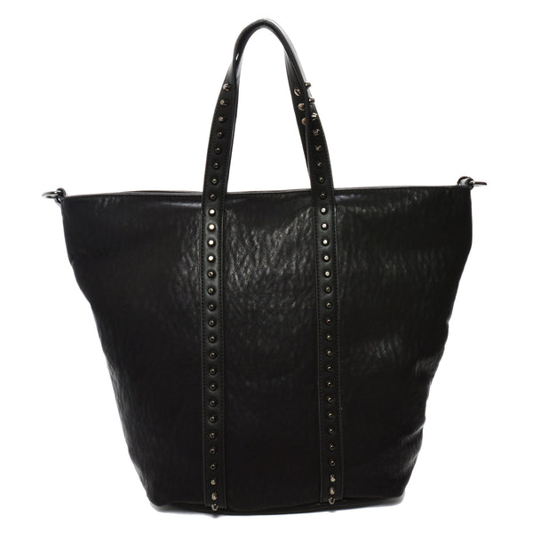 Mechaly Women's Holly Black Vegan Leather Tote Handbag