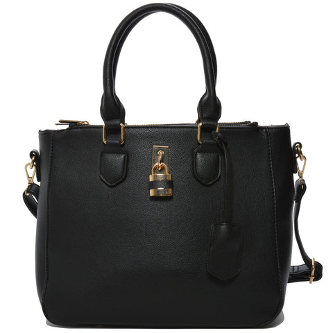 Mechaly Women's Aimee Black Vegan Leather Shoulder Handbag