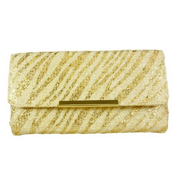 Mechaly Women's Gold Zebra Vegan Leather Clutch Purse