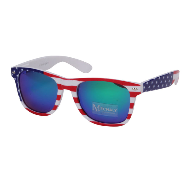 Mechaly Wayfarer Style USA flag Sunglasses with Blue mirrored Lens