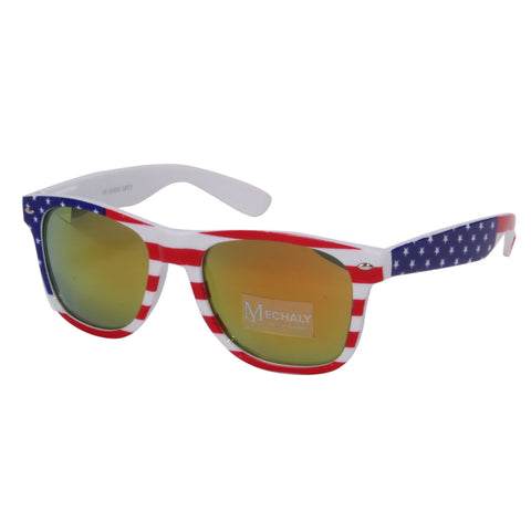 Mechaly Wayfarer Style USA flag Sunglasses with Yellow mirrored Lens