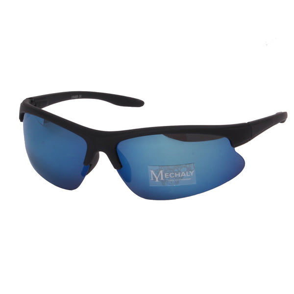 Mechaly Sport Style Black with Blue mirror Sunglasses
