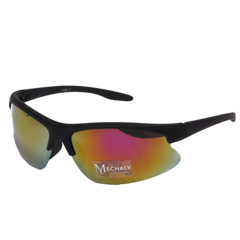 Mechaly Sport Style Black with Yellow mirror Sunglasses
