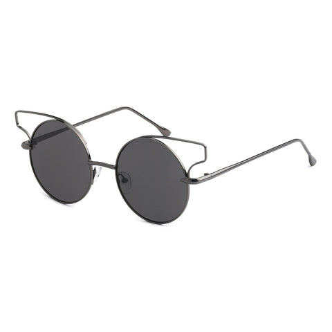 Mechaly Round Cat Eye Style Sunglasses with Gunmetal Frame & Black Lens