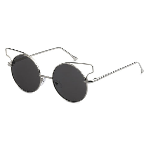 Mechaly Round Cat Eye Style Sunglasses with Silver Frame & Black Lens