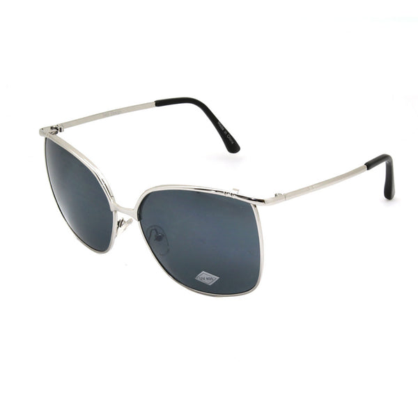 Mechaly Rectangle Style Sunglasses with Silver Frame & Black Lens