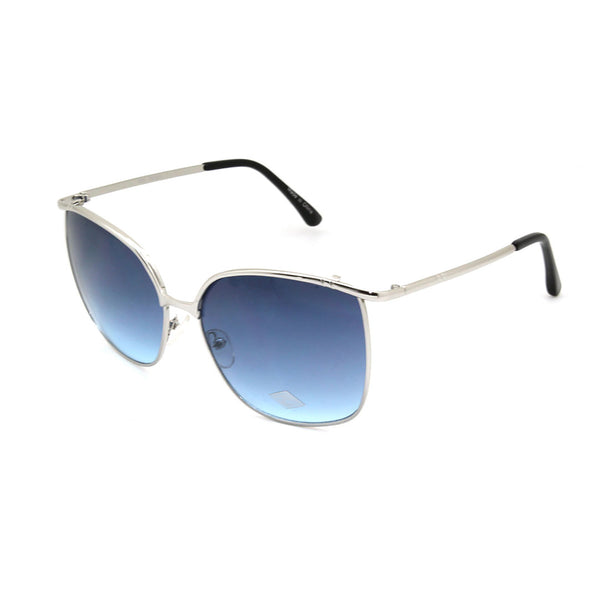 Mechaly Rectangle Style Sunglasses with Silver Frame & Blue Lens
