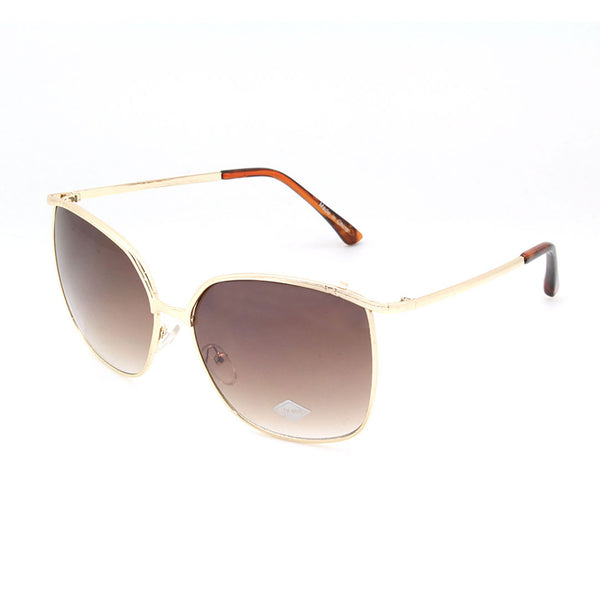 Mechaly Rectangle Style Sunglasses with Gold Frame & Brown Lens
