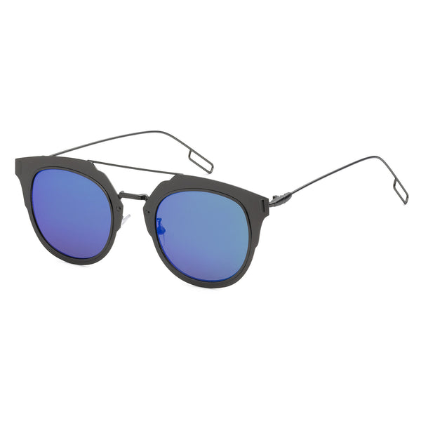 Mechaly Square Style Sunglasses with Gunmetal Frame & Blue Mirror Lens
